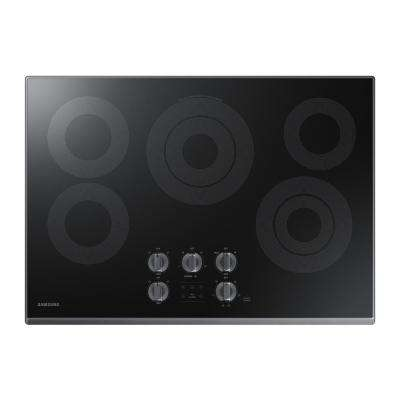 30 in. Glass Surface Electric Cooktop in Black Stainless Steel with 5 Elements with Rapid Boil and WiFi