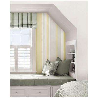 30.75 sq. ft. Yellow Awning Stripe Peel and Stick Wallpaper