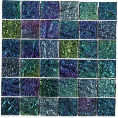 Iridescent Ocean Squares 12 in. x 12 in. x 8 mm Foil Glass Mosaic Tile