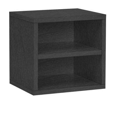Connect System 13.4 in. W x 13.4 in. H Stackable Cube Organizer with Shelf in Black Wood Grain