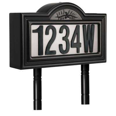 Solar Powered LED Black Address Light