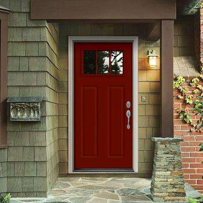 32 in. x 80 in. 3 Lite Craftsman Mesa Red w/White Interior Steel Prehung Left-Hand Inswing Front Door w/Brickmould