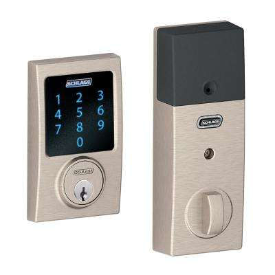 Connect Century Satin Nickel Touchscreen Deadbolt with Alarm