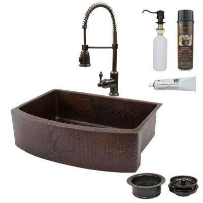 All-in-One Undermount Copper 33 in. 0-Hole Rounded Single Basin Kitchen Sink in Oil Rubbed Bronze