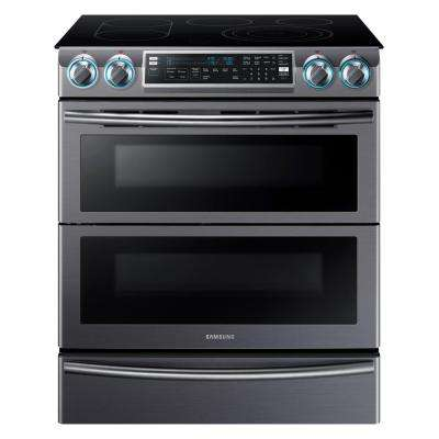 Flex Duo 5.8 cu. ft. Slide-In Double Oven Electric Range with Self-Cleaning Convection Oven in Black Stainless Steel