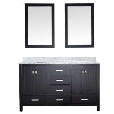 Chateau 60 in. W x 36 in. H Bath Vanity in Black with Marble Vanity Top in Carrara White with White Basins and Mirrors