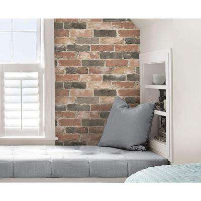 Red Newport Reclaimed Brick Peel and Stick Wallpaper
