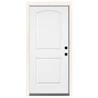 Beau Premium 2 Panel Arch Primed Steel Prehung Front Door