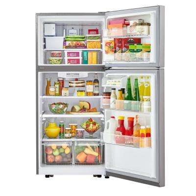 30 in. 20.2 cu. ft. Top Freezer Refrigerator with LED Lighting in Stainless Steel