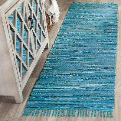 Rag Rug Turquoise/Multi 2 ft. x 10 ft. Runner