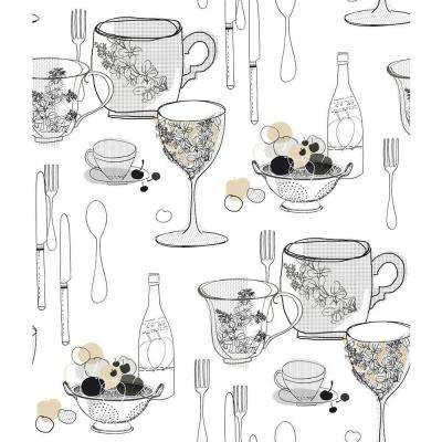 56 sq. ft. Graphic Tableware Wallpaper