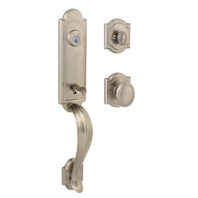 Prestige Avendale Single Cylinder Satin Nickel Handleset with Arch Rose Carnaby Knob featuring SmartKey