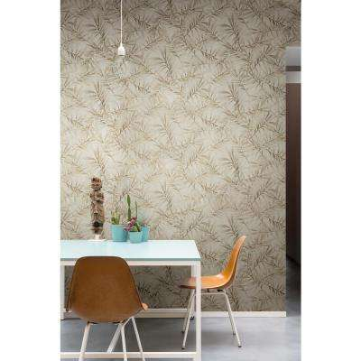 Tropical Leaf Branch Floral Taupe and Metallic Silver Wallpaper