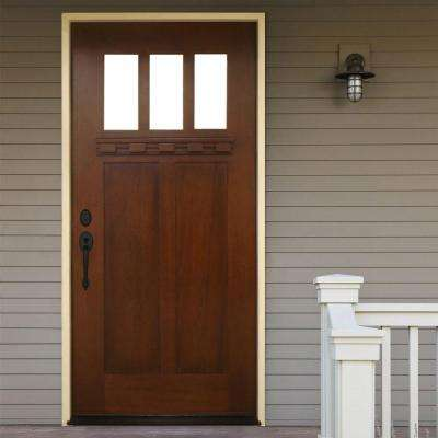Shaker 3 Lite Stained Mahogany Wood Prehung Front Door