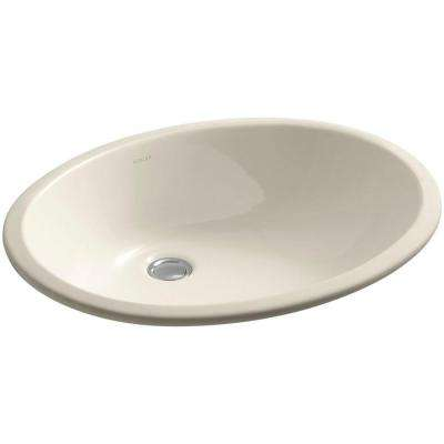 Caxton Vitreous China Undermount Vitreous China Bathroom Sink with Glazed Underside in Almond with Overflow Drain