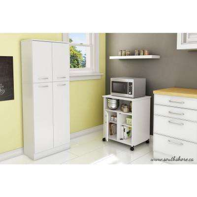 Pure White Microwave Cart With Storage