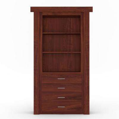 30 in. x 80 in. Flush Mount Assembled Dresser Door Hickory Cherry Stained Right-Hand Outswing