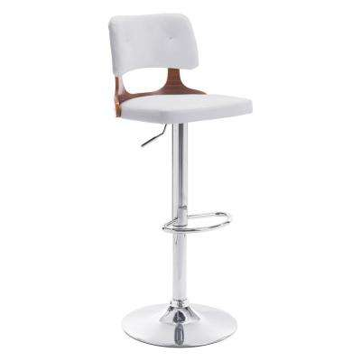 Lynx Adjustable Height White Cushioned Bar Stool