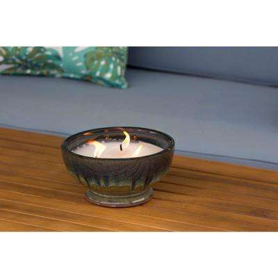 8 in. Caspian Multi-Color 3 Wick Ceramic Citronella Candle
