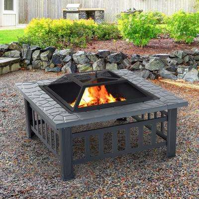 32 in. W x 18 in. H Square Steel Outdoor Patio Wood Burning Fire Pit Table in Black with Poker and Water Resistant Cover