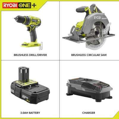 18-Volt ONE+ Lithium-Ion Cordless Brushless 2-Tool Combo Kit with 2 Ah Battery and Charger
