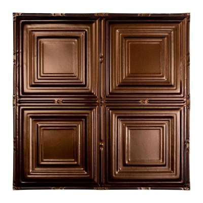 Syracuse 2 ft. x 2 ft. Nail-up Tin Ceiling Tile in Bronze Burst