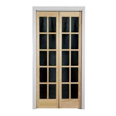 Classic French Glass Wood Interior Bi Fold Door