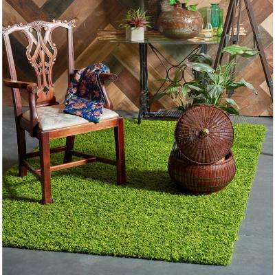 Solid Shag Grass Green 5 ft. x 8 ft. Area Rug
