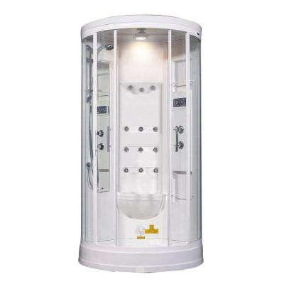 ZA218 40 in. x 40 in. x 88 in. Steam Shower Enclosure Kit in White with 12 Body Jets