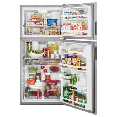 33 in. W 21 cu. ft. Top Freezer Refrigerator in Monochromatic Stainless Steel
