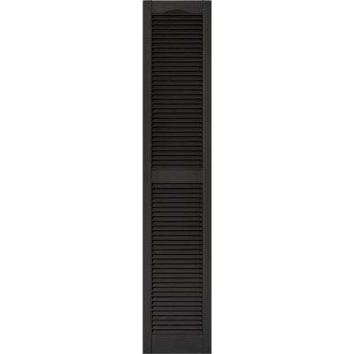 15 in. x 75 in. Louvered Vinyl Exterior Shutters Pair #002 Black