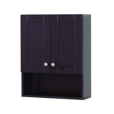 Del Mar 20-1/2 in. W x 25-3/5 H x 7-1/2 in. D Over the Toilet Bathroom Storage Wall Cabinet in Espresso