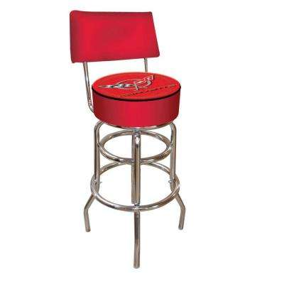 Corvette C5 30 in. Chrome Swivel Cushioned Bar Stool