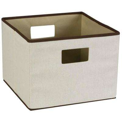 13 in. Square Natural Linen with Brown Trim Storage Bin with Liner