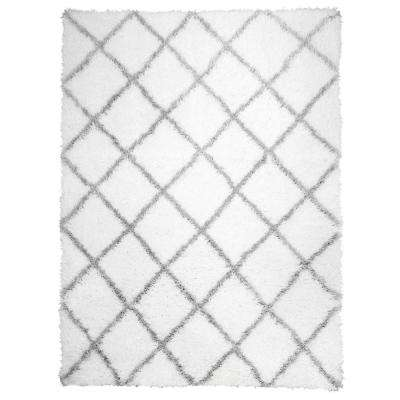 Carmela Ivory/Gray Trellis Shag 7 ft. 10 in. x 10 ft. 2 in. Indoor Area Rug