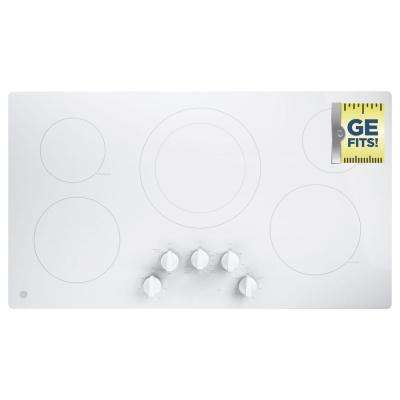 GE 36 in. Control Electric Cooktop Built-in Knob Control with 5 Elements in White GE