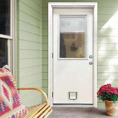 32 in. x 80 in. Classic Clear Mini-Blind RHOS White Primed Fiberglass Prehung Front Door with Small Cat Door