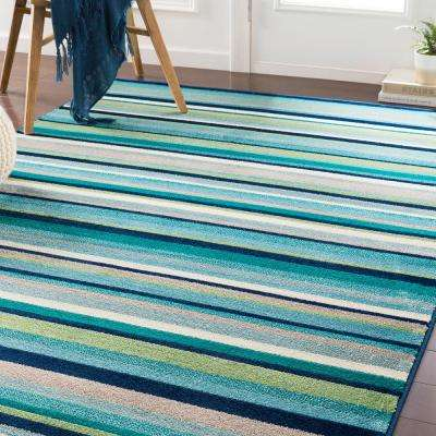 Sora Teal/Lime 5 ft. 3 in. x 7 ft. 6 in. Striped Area Rug