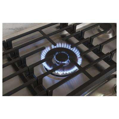 30 in. Built-In Gas Cooktop in Stainless Steel with 5 Burners Including Tri-Ring Burner