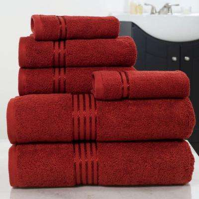100% Egyptian Cotton Hotel Towel Set in Burgundy (6-Piece)