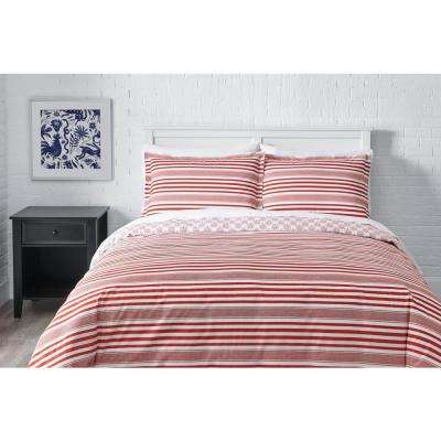 Malcolm 3-Piece Stone Gray Stripe Duvet Cover Set