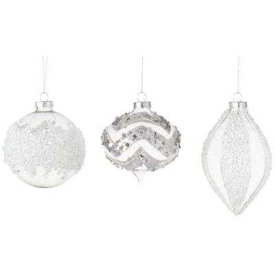 4 in. Chunky Ice Glitter Christmas Ornaments (Set of 6)