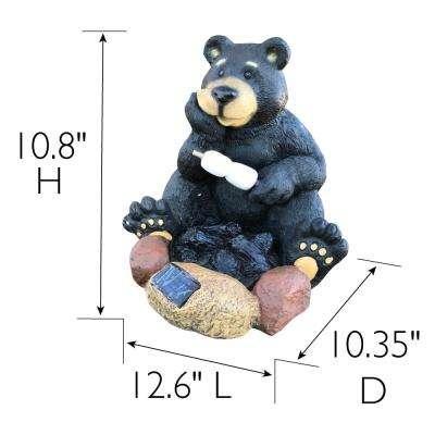 10.8 in. H Solar Powered LED Resin Bear Roasting Marshmallows