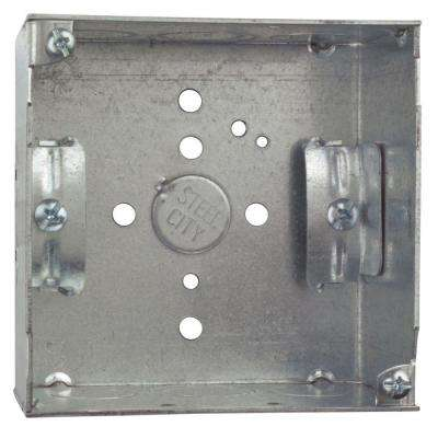 4 in. 2-1/8 in. Deep 30.3 cu. in. Pre-Galvanized Steel Square Box with MS Bracket (Case of 25)