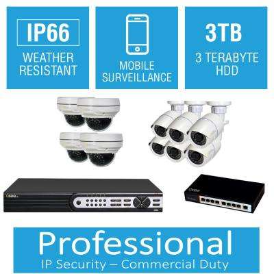 16-Channel 4MP 3TB Full HD IP Surveillance System with (6) 3MP Bullet Cameras and (4) 4MP Dome Cameras