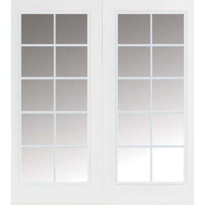 Prehung 10 Lite Primed Smooth Fiberglass Patio Door with No Brickmold