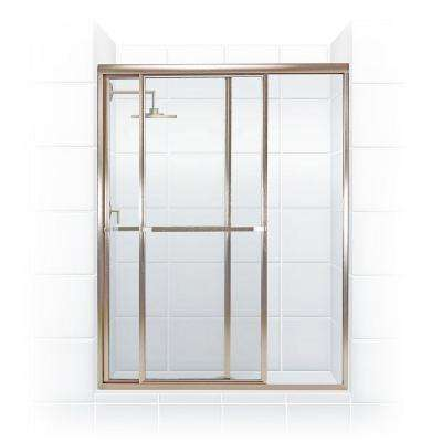 Paragon 54 in. to 55.5 in. x 66 in. Framed Sliding Shower Door with Towel Bar in Brushed Nickel and Clear Glass