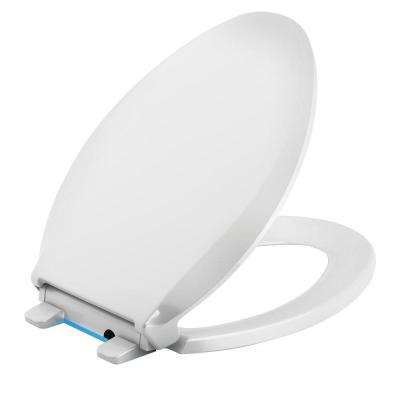 Cachet LED Nightlight Elongated Quiet Closed Front Toilet Seat in White