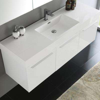 Vista 59 in. Vanity in White with Acrylic Vanity Top in White with White Basin and Mirrored Medicine Cabinet