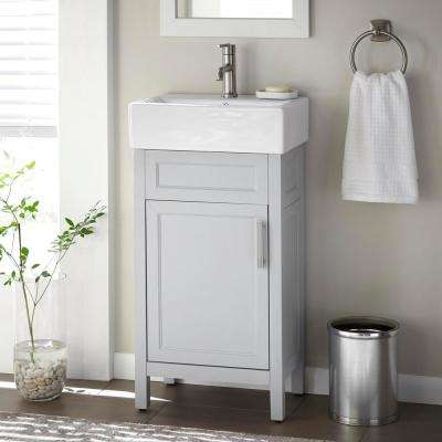 Arvesen 18 in. W x 12 in. D Vanity in Dove Grey with Ceramic Vanity Top in White with White Sink